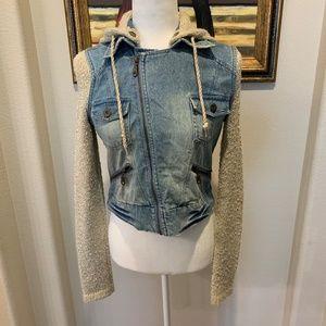 Billabong Mixed Media Denim Hooded Jacket